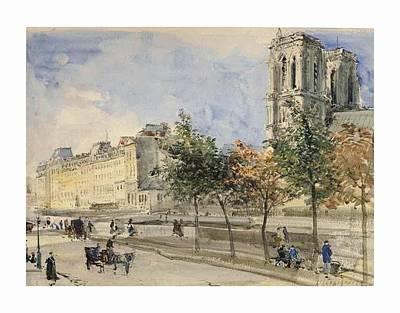 Notre Dame Cathedral Painting - Paris by Henri Harpignies