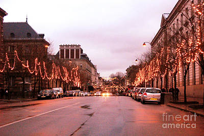 Paris Holiday Christmas Street Scene - Christmas In Paris Art Print by Kathy Fornal
