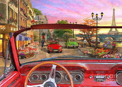 Digital Art - Paris In A Car by Dominic Davison