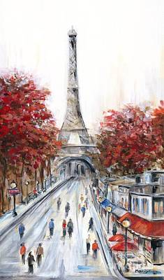 Awnings Painting - Paris In The Fall by Marilyn Dunlap