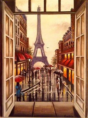 Painting - Paris In The Rain by Art By Three Sarah Rebekah Rachel White