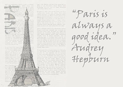 Eiffel Tower Mixed Media - Paris Is Always A Good Idea, Audrey Hepburn by Vel Verrept