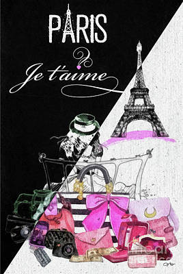 Mixed Media - Paris Jetaime by Mo T