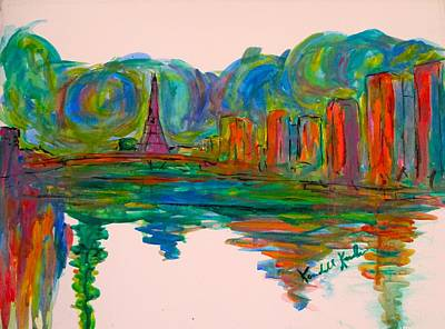 Paris Skyline Paintings - Paris Joy  by Kendall Kessler