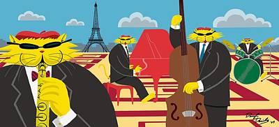 Piano Painting - Paris Kats - The Coolkats by Darryl Glenn Daniels