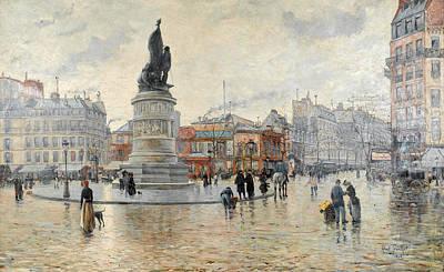 Painting - Paris. La Place Clichy After Rain by Louis Abel-Truchet