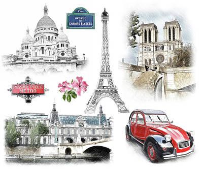 Sacre Coeur Digital Art - Paris Landmarks. Illustration In Draw, Sketch Style.  by Cranach Studio