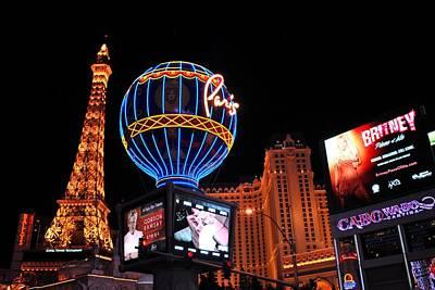 Photograph - Paris Las Vegas Hotel Casino At Night by Matt Harang
