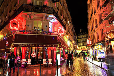 Photograph - Paris Latin Quarter Pizza At Night by John Rizzuto