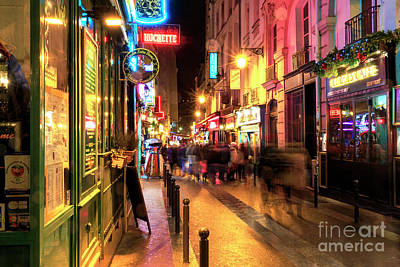 Photograph - Paris Latin Quarter Sights At Night by John Rizzuto