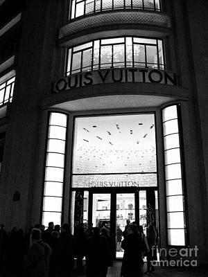 Storefront Photograph - Paris Louis Vuitton Boutique - Louis Vuitton Paris Black And White Art Deco by Kathy Fornal