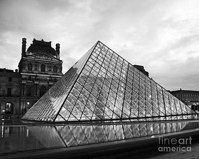 Photograph - Paris Louvre Museum Pyramid Black And White - Paris Pyramid Twilight Sparkling Night Lights by Kathy Fornal
