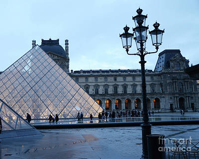 Photograph - Paris Louvre Museum Pyramid Evening Dusk Blue Lights Lanterns Lamp Posts by Kathy Fornal