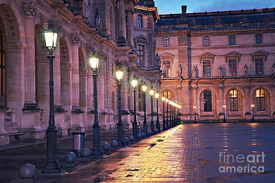Photograph - Paris Louvre Museum Street Lanterns Night Landscape - Louvre Museum Architecture Rainy Night Lights  by Kathy Fornal
