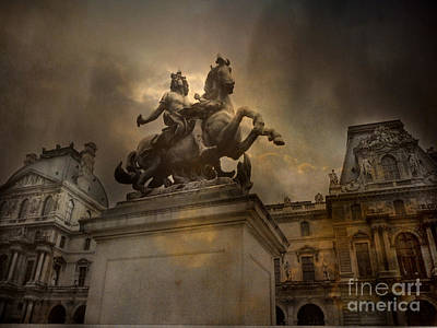 Louvre Photograph - Paris - Louvre Palace - Kings Of Paris - King Louis Xiv Monument Sculpture Statue by Kathy Fornal