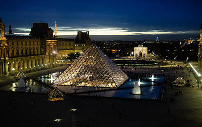 Photograph - Paris - Louvre Pyramid At Night by Georgia Mizuleva