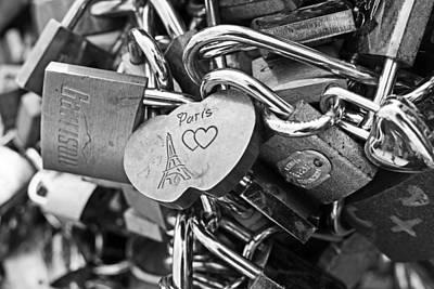 Photograph - Paris Love Locks Paris France Black And White by Toby McGuire