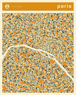 Paris Map Digital Art - Paris Map 2 by Jazzberry Blue