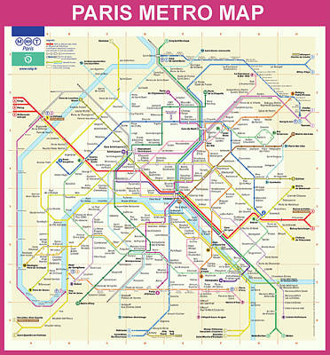 Paris Metro Map  Art Print by Bill Cannon