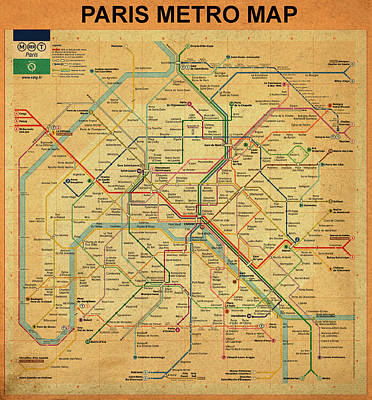 Paris Metro Map In Sepia Art Print by Bill Cannon