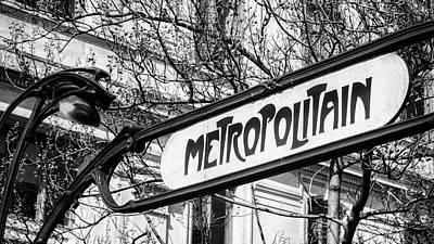 Comic Character Paintings - Paris Metro Sign BW by Joan Carroll