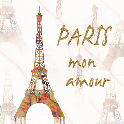 Art Print featuring the painting Paris Mon Amour Mixed Media by Georgeta Blanaru