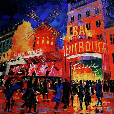 Moulin Painting - Paris Nights By Mona Edulesco by Mona Edulesco