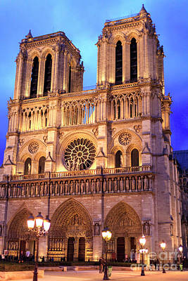 Photograph - Paris Notre Dame At Night by John Rizzuto