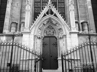 Photograph - Paris Notre Dame Cathedral Gothic Black And White Archictecture - Paris Notre Dame Door Black White by Kathy Fornal