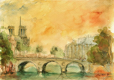 Seine River Wall Art - Painting - Paris Notre Dame by Juan  Bosco