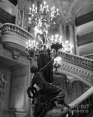 Photograph - Paris Opera Chandeliers - Ladies Holding Candelabras Opera Garnier Black And White Photography by Kathy Fornal