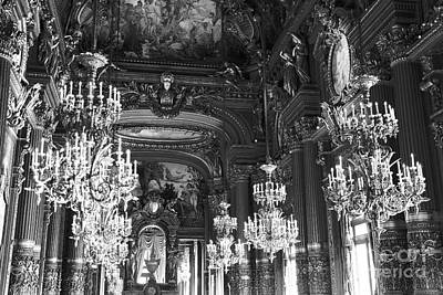 Photograph - Paris Opera House Chandelier Room - Hall Of Chandeliers Black White Print Home Decor by Kathy Fornal