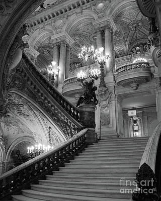 Photograph - Paris Opera House Grand Staircase - Opera Garnier Black And White Interior Architecture Home Decor by Kathy Fornal
