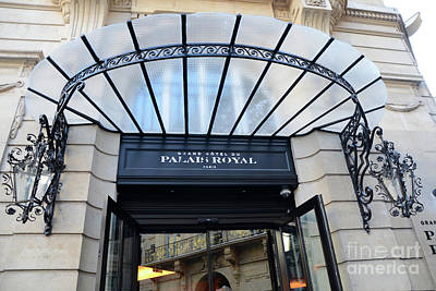 Royal Art Photograph - Paris Palais Royal Hotel Door - Paris Art Nouveau Hotel Palais Royal Entrance Architecture by Kathy Fornal