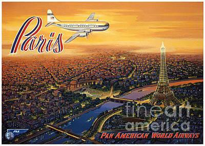 Airways Painting - Paris-pan American Airways by Nostalgic Prints