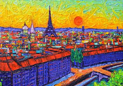 - Paris Panoramic View At Sunset Modern Impressionist Impasto Knife Oil Painting By Ana Maria Edulescu by Ana Maria Edulescu