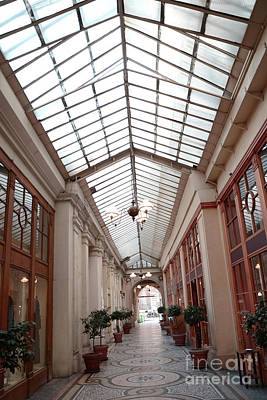 Photograph - Paris Galerie Vivienne - Paris Glass Dome Street Architecture - Galerie Vivienne  by Kathy Fornal