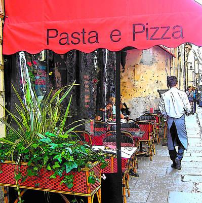 Waiter Digital Art - Paris Pasta And Pizza Shop by Jan Matson