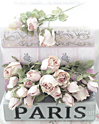 In Memory Of Photograph - Paris Pastel Pink Shabby Chic Roses - Romantic Cottage Pink And White Roses by Kathy Fornal