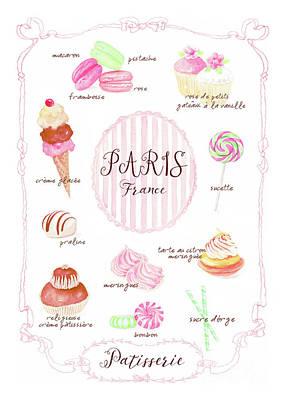 Menu Illustrations Painting - Paris Patisserie by Wendy Paula Patterson