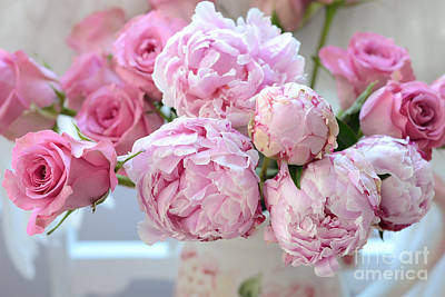 Peony Photograph - Paris Peonies And Roses Shabby Chic Dreamy Peonies - Romantic Paris Peonies And Roses Floral Art by Kathy Fornal