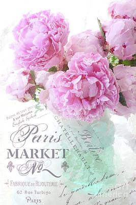 Photograph - Paris Peonies Impressionistic Romantic Peony Peonies French Script Typography Floral Print Home Deco by Kathy Fornal