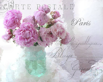 French Script Photograph - Paris Peonies - Parisian Pink Peonies Pink Aqua French Decor - Paris Floral Wall Art Home Decor  by Kathy Fornal