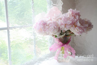 Floral Fine Art Photograph - Paris Peonies Shabby Chic Dreamy Pink Peonies Romantic Cottage Chic Paris Impressionistic Peonies  by Kathy Fornal