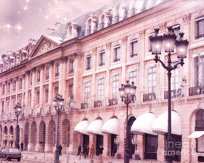 Photograph - Paris Pink Architecture - Paris Street Lamps - Paris Place Vendome Street Lanterns by Kathy Fornal