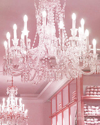 Paris Pink Crystal Chandelier - Paris Repetto Sparkling Chandelier Decor Art Print by Kathy Fornal