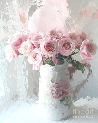 Cottage Floral Photograph - Paris Pink Impressionistic French Roses In Pink White Vase - Shabby Chic Pink Roses Fine Art Print by Kathy Fornal
