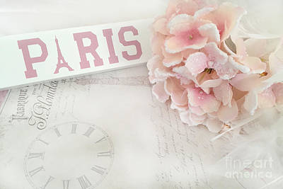 Pink Wall Art Photograph - Paris Pink Pastel Hydrangeas - Shabby Chic Pink Pastel Paris Hydrangea With French Script  by Kathy Fornal
