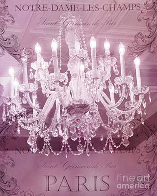 Photograph - Paris Pink Pastel Crystal Chandelier - Parisian Pink Hotel Chandelier French Script by Kathy Fornal