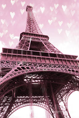 With Photograph - Paris Pink Romantic Eiffel Tower Valentine Hearts - Eiffel Tower Baby Girl Nursery Room Wall Art by Kathy Fornal